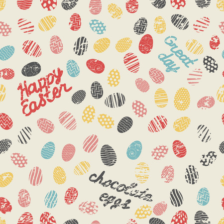Happy easter seamless pattern with colorful painted eggs and great day handwritten letters on white background vector illustration