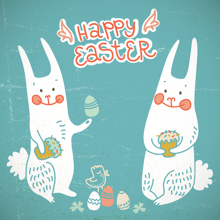 Happy easter hand drawn card with two doodle rabbits holding easter eggs and cakes flat vector illustration