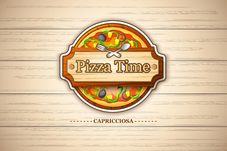 Colorful pizza margherita emblem with cheese and tomato ingredients on wooden background vector illustration
