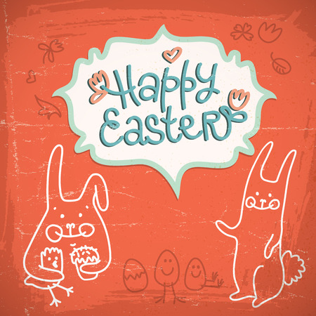 Happy Easter drawn card with sketch of rabbits in white lines on a red background