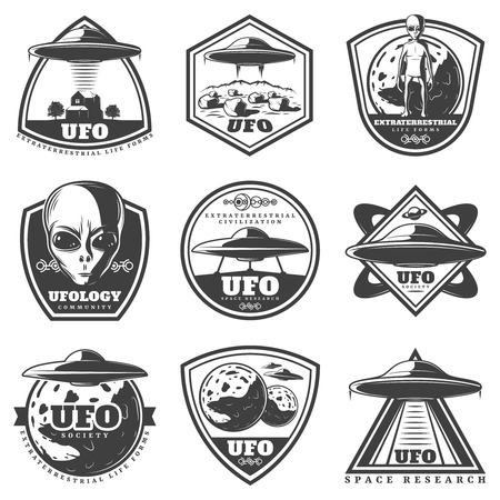 Vintage monochrome UFO labels set with alien spaceships unknown planets extraterrestrial life forms isolated vector illustration.
