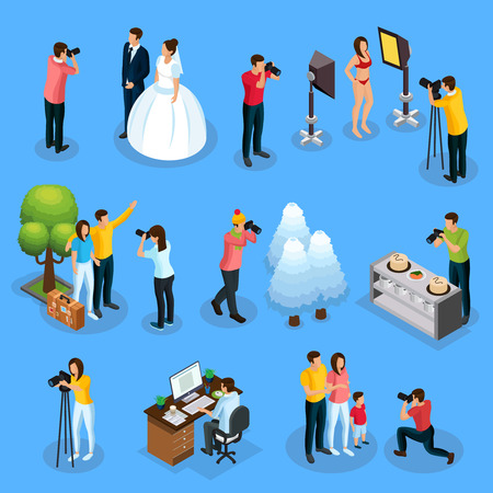 Isometric photographers collection with photographing of wedding model travelers nature food family and photo editing process isolated vector illustration