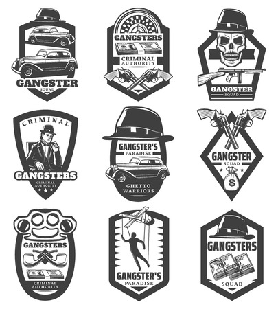 Vintage mafia emblems set with gangster classic cars revolvers gun hat skull money puppet roulette smoking pipes knuckle isolated vector illustration