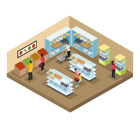 Isometric supermarket interior concept with people choosing different products in grocery shop vector illustration