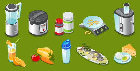 Isometric healthy lifestyle elements set with blender slow cooker vitamins scales juicer vegetables juice shaker fish eggs cheese isolated vector illustration Illustration