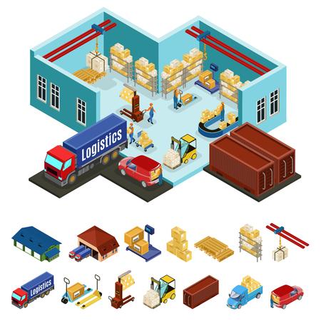 Koncepcja magazynu izometrycznego z procesem ładowania w strefie przemysłowej przechowywania i logistyczne ikony na białym tle ilustracji wektorowych