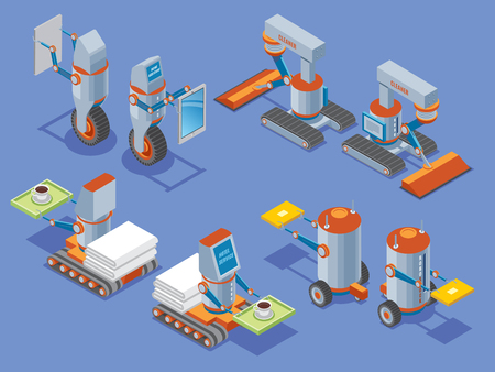 Isometric robots presentation with housework cleaning. hotel services robotic assistants in front and back view isolated vector illustration Illustration