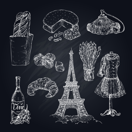 Isolated hand drawn paris elements set on chalkboard with french food, clothes, tree and eiffel tower vector illustration
