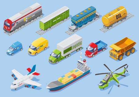 Izometryczny zestaw transportowy logistyczny z różnymi rodzajami transportów Ilustracje wektorowe