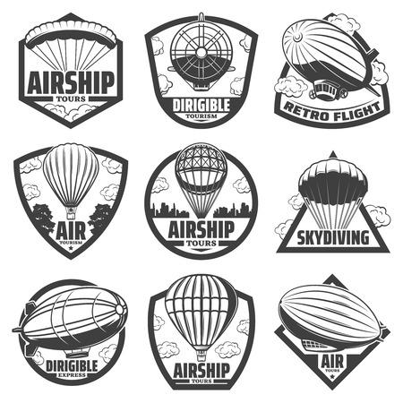 Vintage monochrome airship labels set with inscriptions set