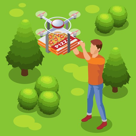 Isometric modern food delivery service template with drone bringing pizza to man. Vector illustration.