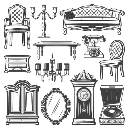 Vintage furniture elements set with chair sofa chandelier candlestick nightstand cabinet table mirror retro clocks telephone vinyl player isolated vector illustration