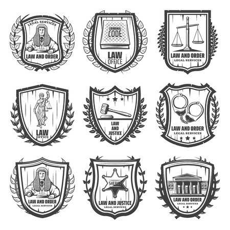 Vintage justice emblems set with judge law book scales Themis statue gavel handcuffs sheriff badge courthouse isolated vector illustration Ilustração