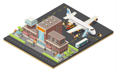Isometric air logistics concept with workers loading cargo on big plane at airport isolated vector illustration