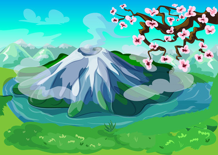 Picturesque japanese nature landscape background with beautiful mountains volcanoes and sakura tree branch vector illustration Illustration