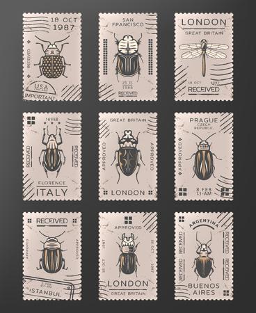 Conjunto de sellos de insectos Foto de archivo - 98514306