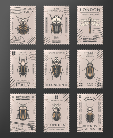 Insects stamps set Foto de archivo - 98514306