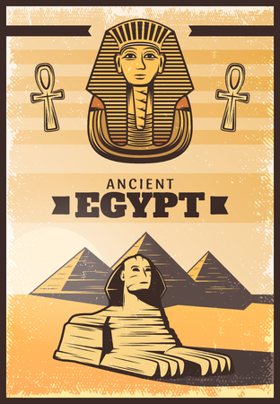 Vintage colored travel Egypt poster with pharaoh mask ankh sphinx on pyramids landscape vector illustration Illustration