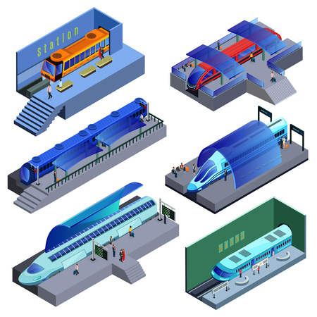 Isometric modern railway transport set with passenger trains of different construction and people on station isolated vector illustration