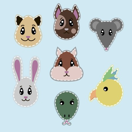 Hand drawn pets heads set with dog cat mouse rabbit parrot hamster lizard isolated vector illustration Illustration