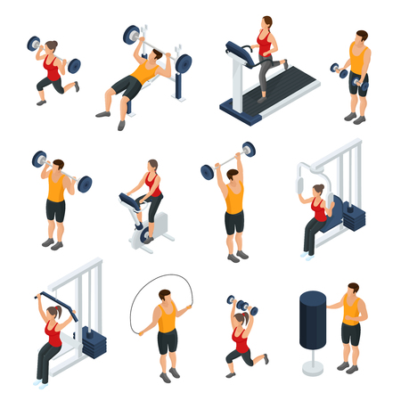 Isometric people in gym collection with men and women doing different physical exercises isolated vector illustration Illustration