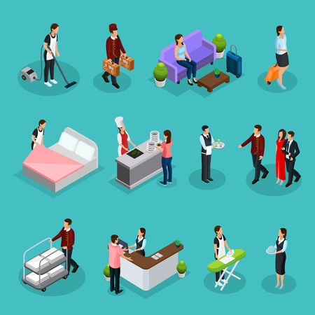 Isometric hotel services set with maid bellboy waiter receptionist clients characters ironing cleaning room cooking laundry services isolated vector illustration