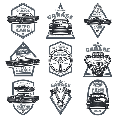Retro vehicle club emblems set with classic automobiles steering wheel motor engine pistons in vintage style isolated vector illustration