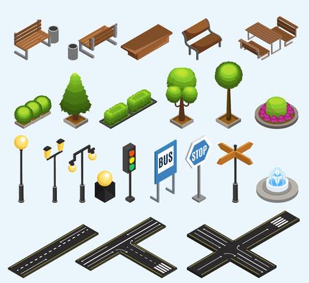 Izometryczne kolekcja elementów miasta z ławkami kosze na śmieci rośliny słupy latarnie sygnalizacja świetlna fontanna znaki drogowe na białym tle ilustracji wektorowych