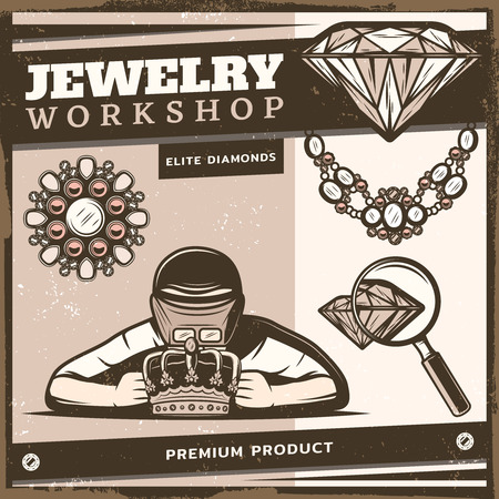 Vintage jewelry shop template with jeweler repairing royal crown brooch diamond necklace magnifier vector illustration
