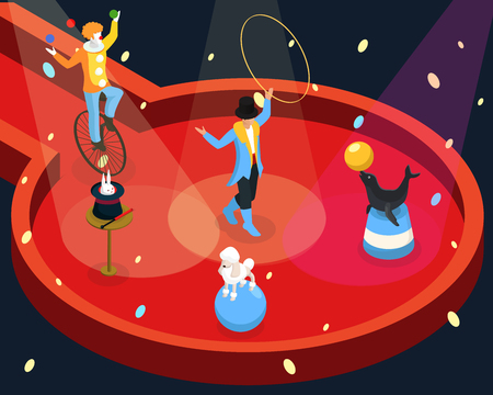 Isometric circus performance rehearsal template with tamer animal and magic tricks clown juggling on unicycle vector illustration Illustration
