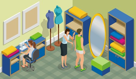 Isometric fashion atelier template with tailor taking measurements from client and woman sewing at table vector illustration