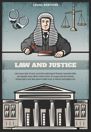 Vintage colored judicial system poster with inscription judge courthouse handcuffs scales of justice vector illustration