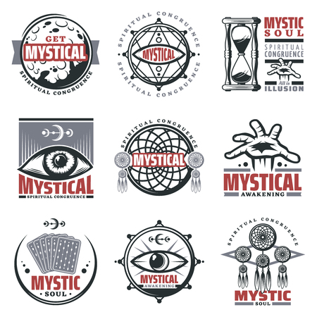 Vintage mystical spiritual emblems set with inscriptions moon sand glass mystic symbols jewelry third eye tarot cards isolated vector illustration