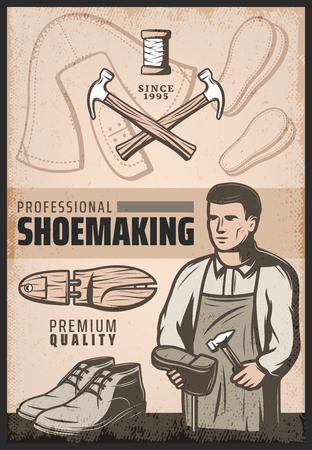 Weinlese färbte das Schuhherstellungsplakat mit Schusterreparaturschuh, Hämmern, hölzernem Stiefel und Garnrolle. Vektor-illustration Vektorgrafik