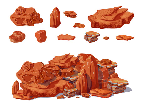Cartoon colorful stones concept with rocks and boulders of different shapes which pile creates isolated vector illustration