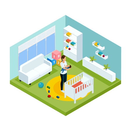 Isometric colorful children care template with nanny puts baby to sleep in children room vector illustration.