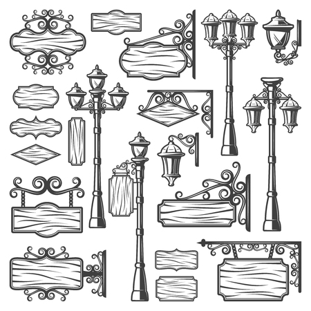 Vintage street lanterns set with metal poles old lamps signboards and blank wooden planks isolated vector illustration