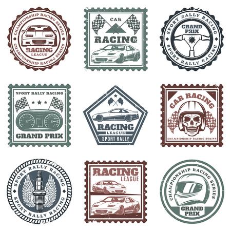 Vintage car sport racing stamps set with inscriptions automobiles steering wheel dashboard skull helmet spark plug flags isolated vector illustration 일러스트