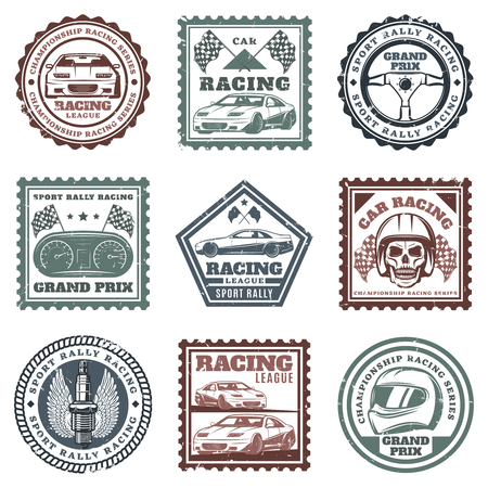Vintage car sport racing stamps set with inscriptions automobiles steering wheel dashboard skull helmet spark plug flags isolated vector illustration Illustration