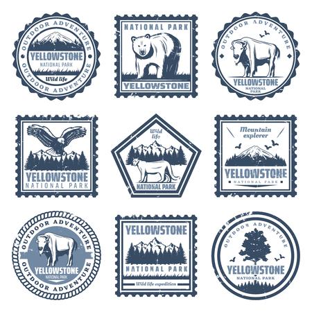 Los sellos del parque nacional de la vendimia fijados con las inscripciones llevan la ilustración del vector aislada del águila del puma del búfalo y de los paisajes de la naturaleza Ilustración de vector