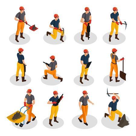 Izometryczne znaki górnicze ustawione w mundurze i pracujące ze sprzętem górniczym i narzędziami do pracy fizycznej na białym tle ilustracji wektorowych