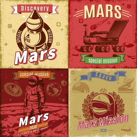 Vintage colored space research cards set with inscriptions spaceship rover helmet and cosmonaut on Mars planet landscape vector illustration Illustration