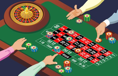 Isometric casino roulette table template with hands of playing people wheel and colorful chips vector illustration