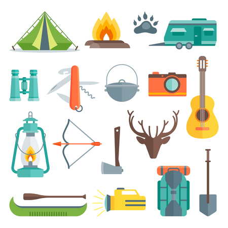 Camping decorative flat icons set with tent bonfire flashlight backpack shovel guitar antlers boat isolated vector illustration