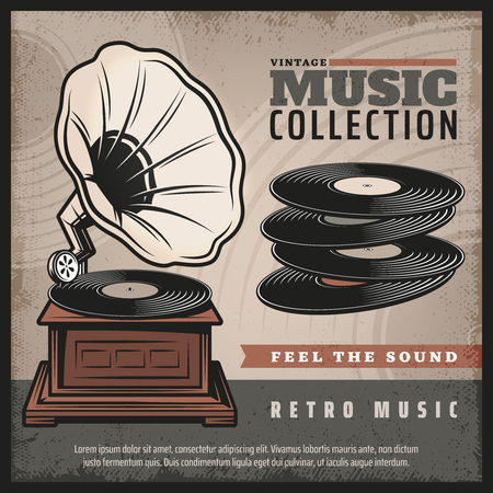 Music collection poster with a gramophone and vinyl records Ilustração