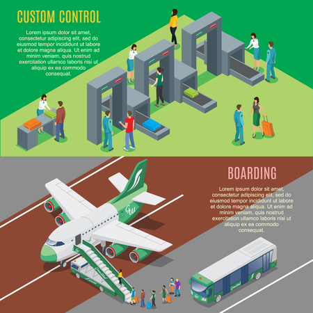 Isometric airport horizontal banners with security gates control and airplane boarding process vector illustration Illustration