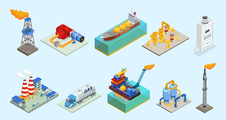 Isometric natural gas industry elements set with rig truck tanker burner pipelines refinery plant offshore platform column isolated vector illustration Ilustração