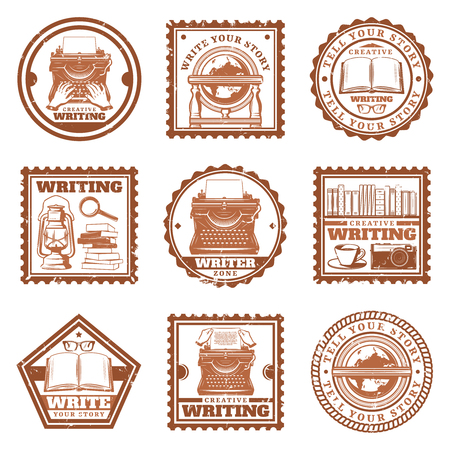 Vintage writing stamps set with typing retro globe telephone typewriter books magnifier coffee camera eyeglasses oil lamp isolated vector illustration Reklamní fotografie - 102078079