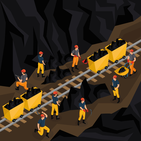 Isometric coal industry concept with miners in uniform working in mine and using manual labour tools vector illustration