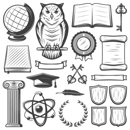 Vintage university and academy elements set with educational objects and symbols in monochrome style isolated vector illustration